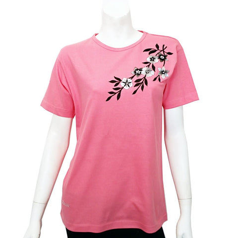 Women's Black Flower Patch Tee ~ M.Rose