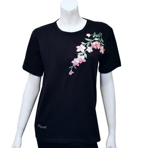 Women's Pink Flower Patch Tee ~ Black