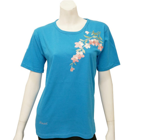Women's Pink Flower Patch Tee ~ Turquoise