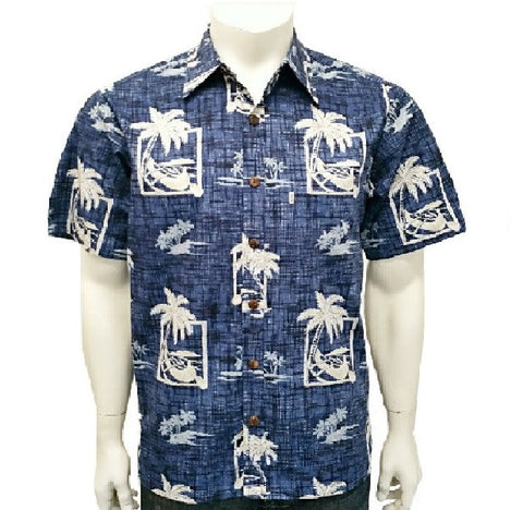 Men's Palm Canoe Aloha Shirt ~ Navy