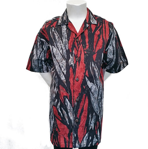 Abstract Rainforest Kala Kloth Boys Aloha Shirt ~ Red