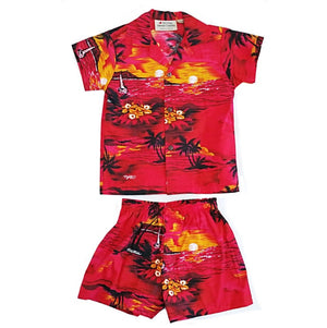 Palm Tree Boy's Cabana Set ~ Red