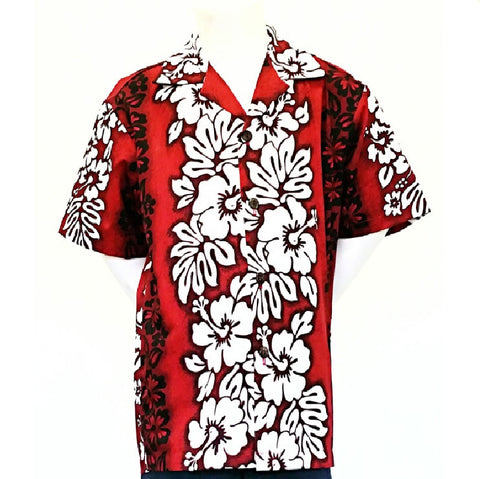 Hibiscus Panel  Boys Aloha Shirt ~ Red