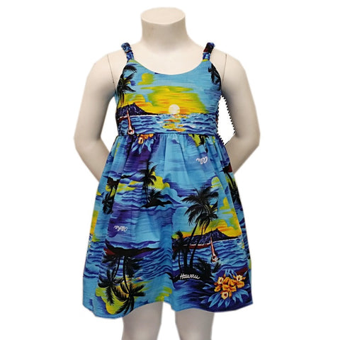 Palm Tree Girls Elastic Strap Dress ~ Blue
