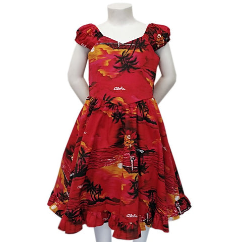 Girls Ruffle Hem Palm Tree Sundress ~ Red
