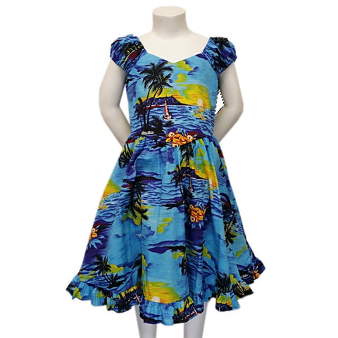 Girls Ruffle Hem Palm Tree Sundress ~ Blue