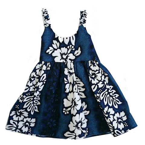 Hibiscus Panel Toddler Girls Elastic Strap Dress ~ Blue