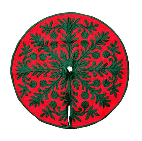 "Hawaiian quilt 100% hand quilted/hand appliqued Christmas tree skirt 42"" - Red"