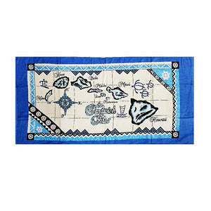 Blue Map Beach Towel