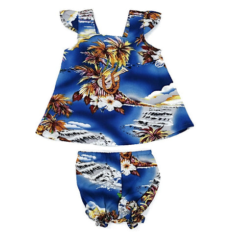 Blue Hawaii Girls Cap Sleeve Set ~ Blue