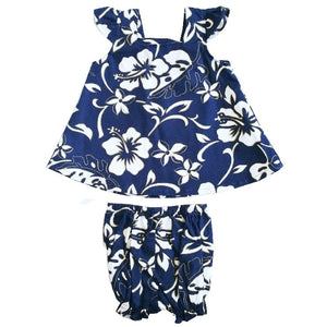 Classic Hibiscus Pareo Girls Cap Sleeve Set(825-p1272) ~ Navy