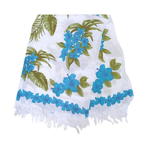 Blue Plumeria Border Long Sarong - White