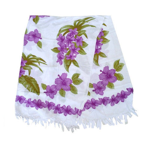 Purple Plumeria Border Long Sarong - White