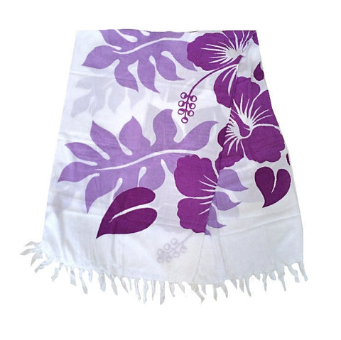 Lauae Long Sarong - Purple/White