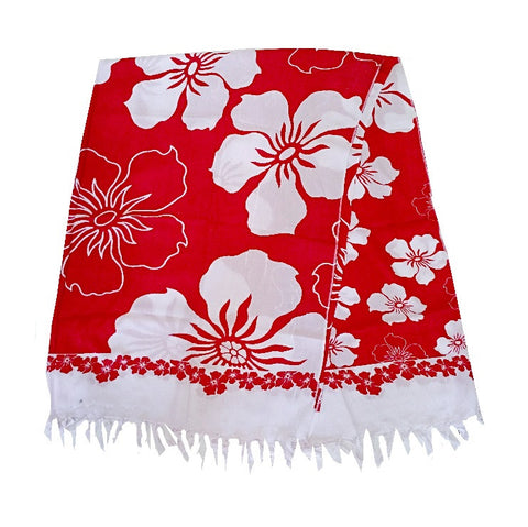 Hibiscus Border Long Sarong - Red/White
