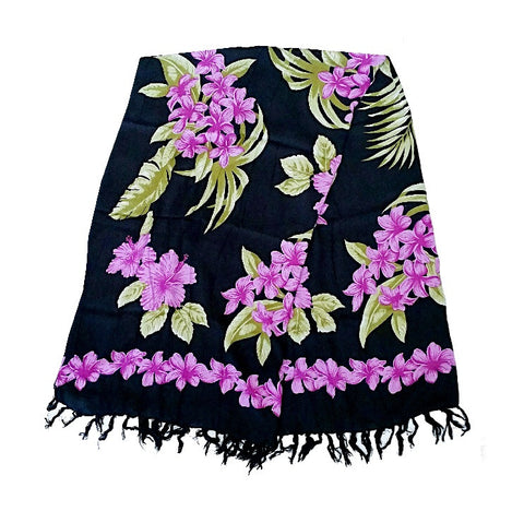 Purple Plumeria Border Long Sarong - Black
