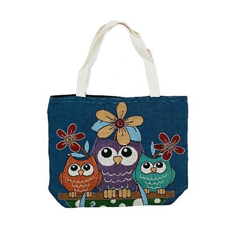 Owl 3 Cotton Canvas Tote Bag - Blue
