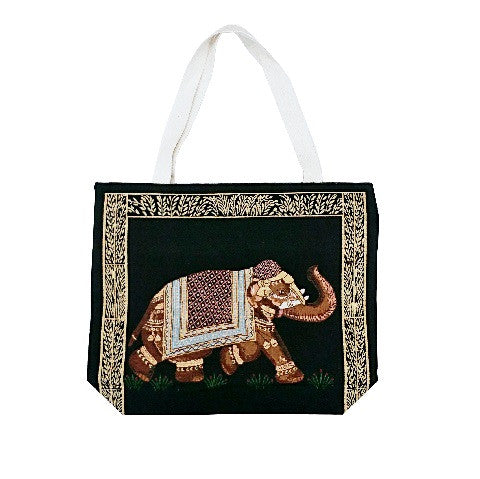 Elephant Cotton Canvas Tote Bag - Black