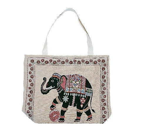 Elephant Cotton Canvas Tote Bag - Beige