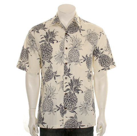 Pineapple Dream Men's Aloha Shirt ~ Cream