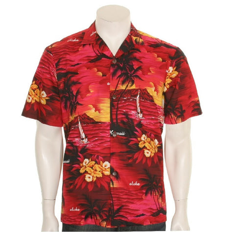 Palm Tree Aloha Shirt ~ Red