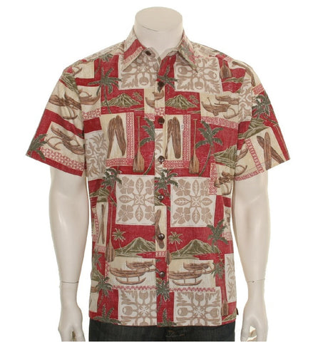 Men's Quilt Canoe Aloha Shirt ~ Red