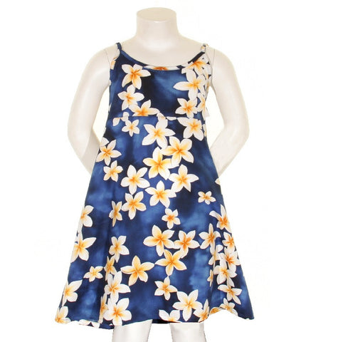 Plumeria Girls Spaghetti Strap Dress ~ Blue