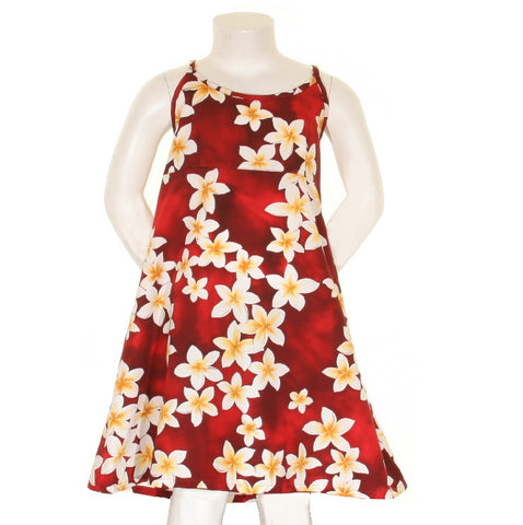 Plumeria Girls Spaghetti Strap Dress ~ Red