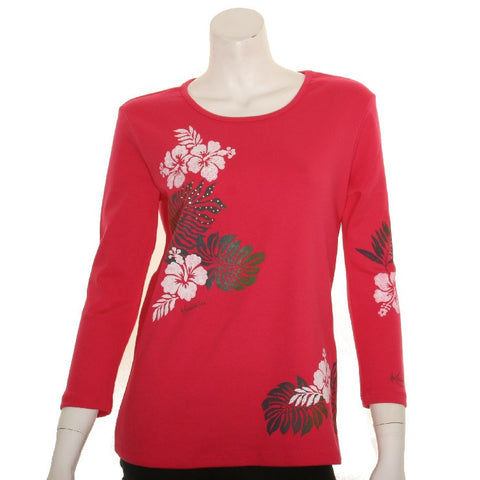 Women's 3/4 Sleeve Hibiscus Embellish Top - 118481