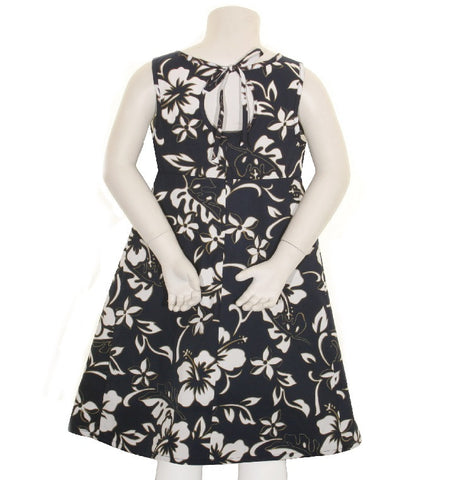 Classic Hibiscus Pareo Girls Key Hole Dress ~ Navy