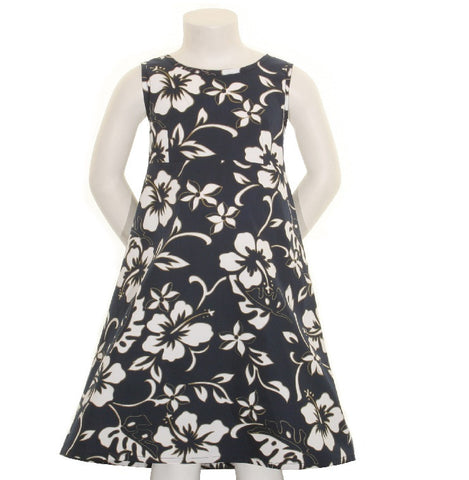 Classic Hibiscus Pareo Girls Key Hole Dress (818-p1272)~ Navy