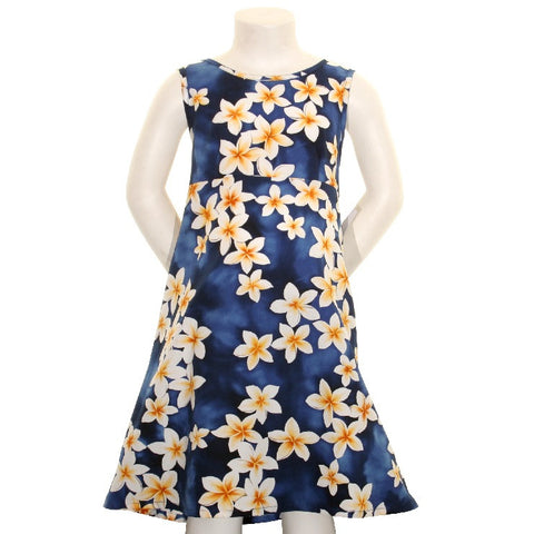 Plumeria Girls Key Hole Dress ~ Blue