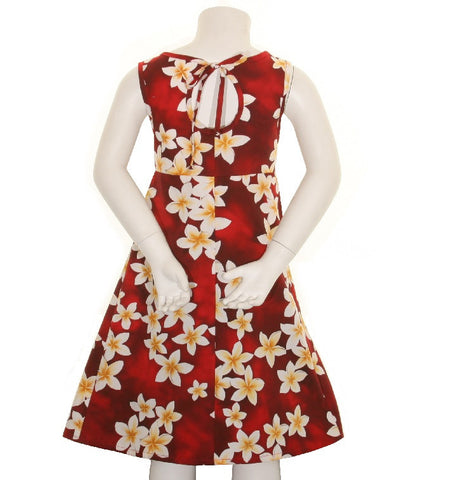 Plumeria Girls Key Hole Dress ~ Red