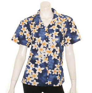 Women's Plumeria Camp Blouse ~ Blue