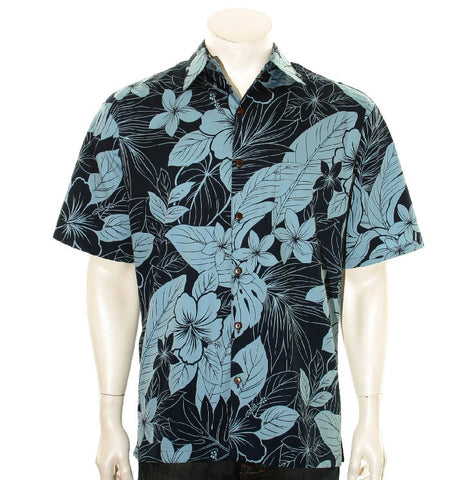 Tropical Jungle Men's Aloha Shirt ~ Navy/Navy