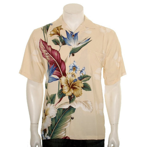 Floral Bird of Paradise Men's Aloha Shirt ~ Beige