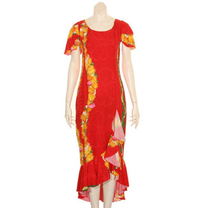 Hilo Hattie Rayon Ohia Women's Ruffle Mid-Length Dress (MH799) - Red