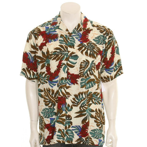 Men's Red Ginger Rayon Aloha Shirt - Cream