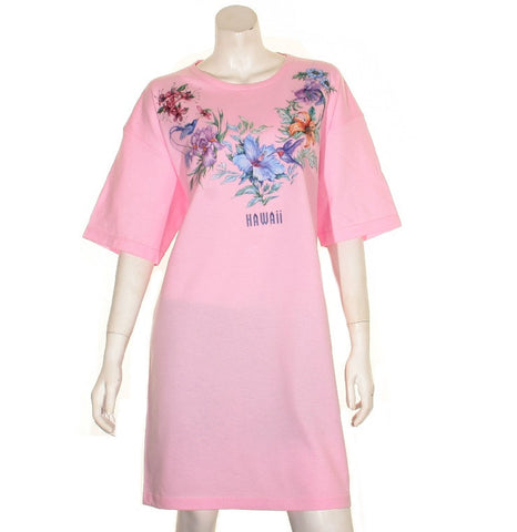 Flower and Bird  Beach Cover Up ~ Pink