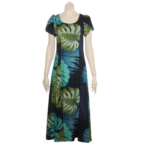 "Monstera Palm Fronds  ~  Navy ""Kimi""2 Tulip Sleeve Ladies Rayon Dress"
