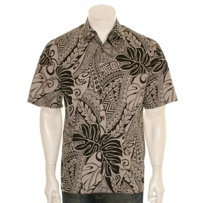 Tribal Monstera Cotton Men's Aloha Shirt  ~  Brown