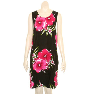 Island Tye Dye Tank Dress(110440) ~ Black/Fuchsia