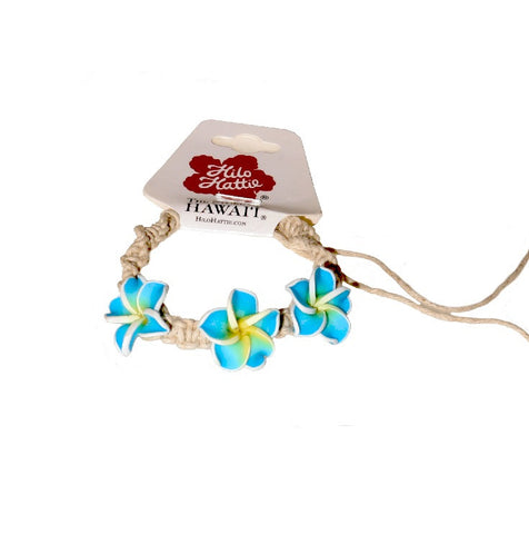 Light Blue Plumeria String Bracelet