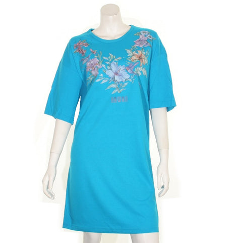 Flower and Bird  Beach Cover Up ~ Turquoise