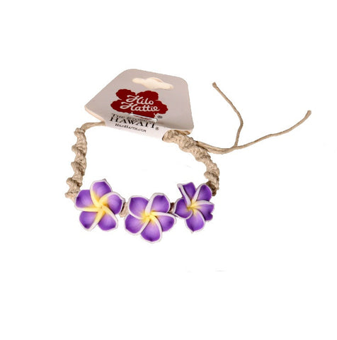 Purple Plumeria String Bracelet