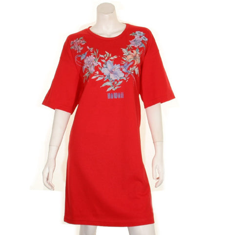 Flower and Bird  Beach Cover Up ~ Red