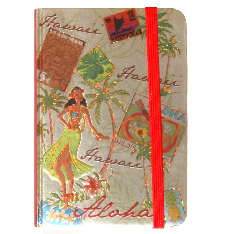 Foil Notebook with Elastic Band - Stamped with Aloha - Small