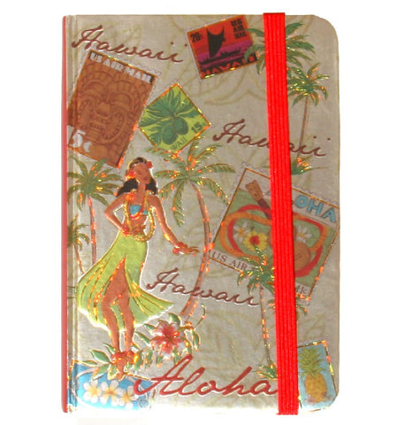 Foil Notebook with Elastic Band - Stamped with Aloha