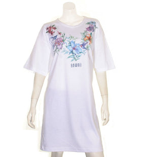 Flower and Bird  Beach Cover Up(BCU HW 7-6) ~ White
