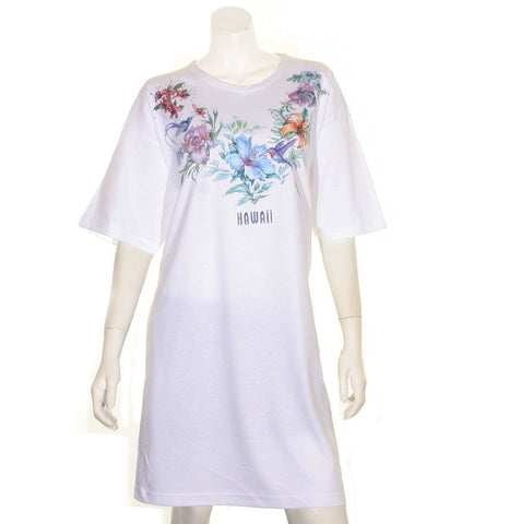 Flower and Bird  Beach Cover Up ~ White